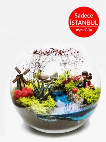Aşk Değirmeni Teraryum Terarium çiçek gönder
