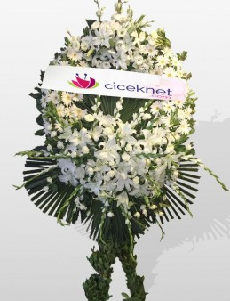 Beyazlı Cenaze Çelengi  çiçek gönder