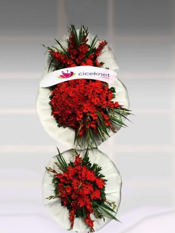 Kırmızılı Düğün Sepeti Ayaklı Sepet çiçek gönder