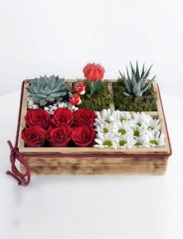 Huzur Bahçesi Ahşap Kutuda Teraryum  çiçek gönder