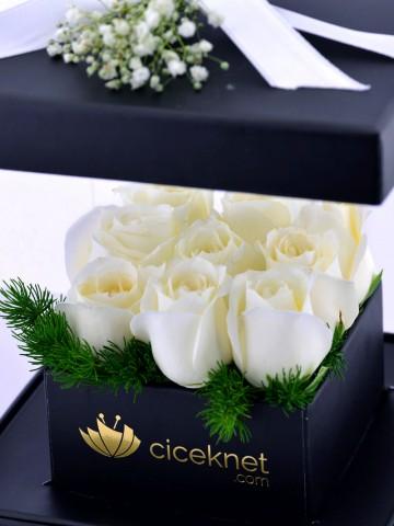 Pleksi Kutuda Beyaz Güller Kutuda Çiçek çiçek gönder