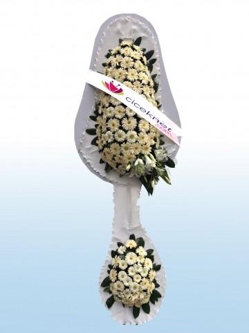 Düğün ve Açılışlar İçin Beyaz Gerberalı Çiçek Ayaklı Sepet çiçek gönder