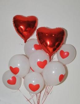 İki Kalp Birbirine Karşı Uçan Balon Buketi  çiçek gönder