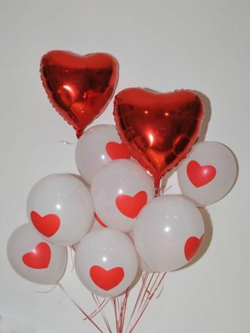 İki Kalp Birbirine Karşı Uçan Balon Buketi Balonlar çiçek gönder