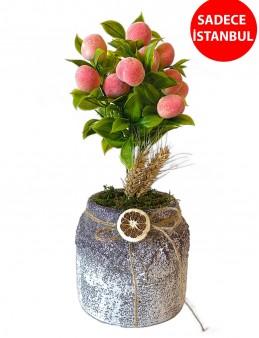 Yapay Şeftali Ağaçı Saksı Çiçekleri çiçek gönder
