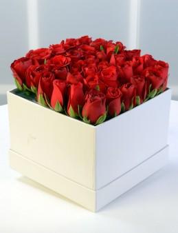 Beyaz Kare Kutuda Kırmızı Gül Aranjmanı.  çiçek gönder