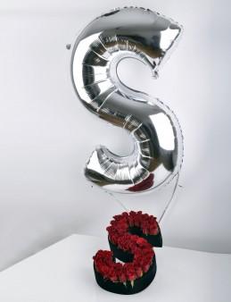 Biricik Aşkıma Çiçekli Harf Folyolu Uçan Balon  çiçek gönder