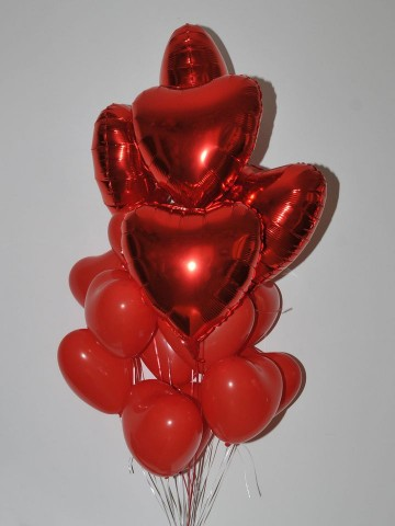 Kırmızının Sırrı Kalpli Uçan Balon Buketi Balonlar çiçek gönder