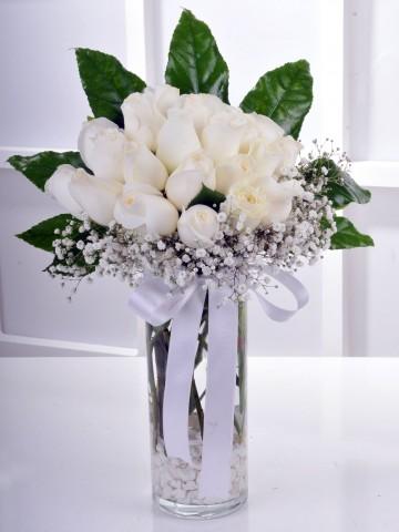 Büyük Düşler 21 Beyaz Gül Arajmanı Aranjmanlar çiçek gönder