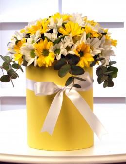 Sarı Silindir Kutuda Renkli Biçmeler   çiçek gönder
