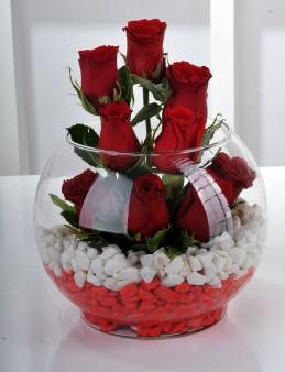 Fanus Vazoda 9 Kırmızı Gül..  çiçek gönder