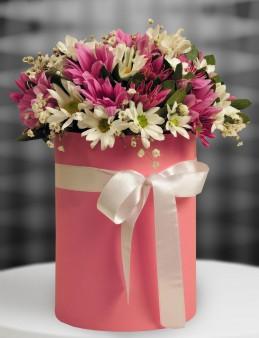 Pembe Silindir Kutuda Bahar Çiçekleri.  çiçek gönder