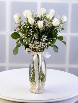 Amfora Camda 11 Beyaz Gül  çiçek gönder
