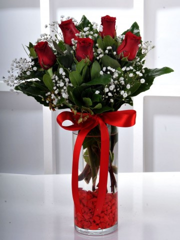 Gün Batımı 5 Kırmızı Gül Çiçek Arajmanı Aranjmanlar çiçek gönder