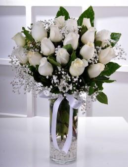 Vazoda 19 Beyaz Gül..  çiçek gönder