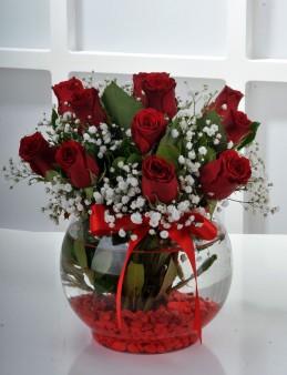 Fanus Vazoda 11 Kırmızı Gül..  çiçek gönder