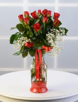 Camda 11 Adet Kırmızı Gül.  çiçek gönder