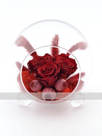 Cam Kürede Solmayan Kırmızı Güller Solmayan Güller  çiçek gönder