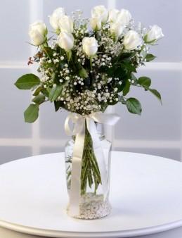 Amfora Camda 15 Adet Beyaz Gül  çiçek gönder