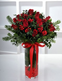 Kokina ve Kırmızı Güllerden Yılbaşı Arajmanı  çiçek gönder