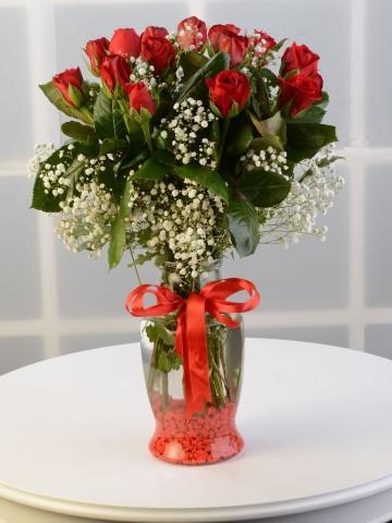 Kalpten Bağlıyım Kırmızı Güller Aranjmanlar çiçek gönder
