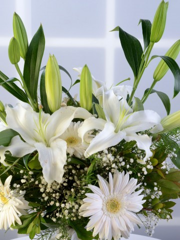 Cam Vazoda Beyaz Lilyum ve Gerbera Aranjmanı Aranjmanlar çiçek gönder