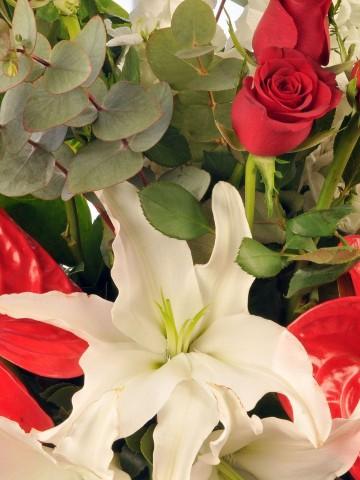 Kupa Seramikte Güller, Antoryumlar ve Lilyumlar Aranjmanlar çiçek gönder