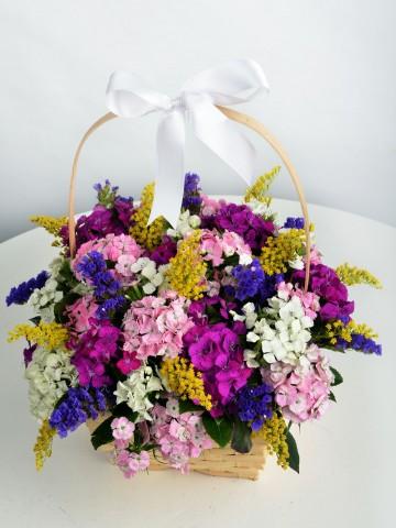 Çiçekçi Sepetinde Kır Çiçeği Arajmanı Aranjmanlar çiçek gönder