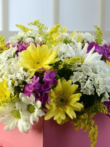 Pembe Kare Kutuda Kır Çiçekleri. Kutuda Çiçek çiçek gönder