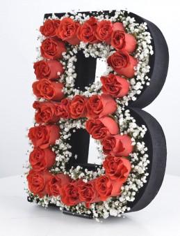 Kişiye Özel Kırmızı Güllerden Baş Harf  çiçek gönder