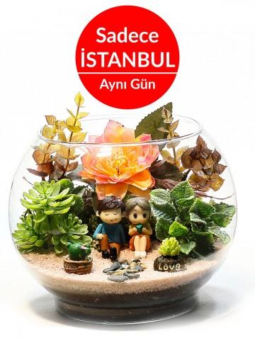 Aşk Hikayesi Yapay Teraryum Terarium çiçek gönder