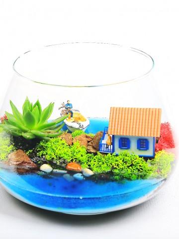 Mavi Masal Yapay Teraryum Terarium çiçek gönder