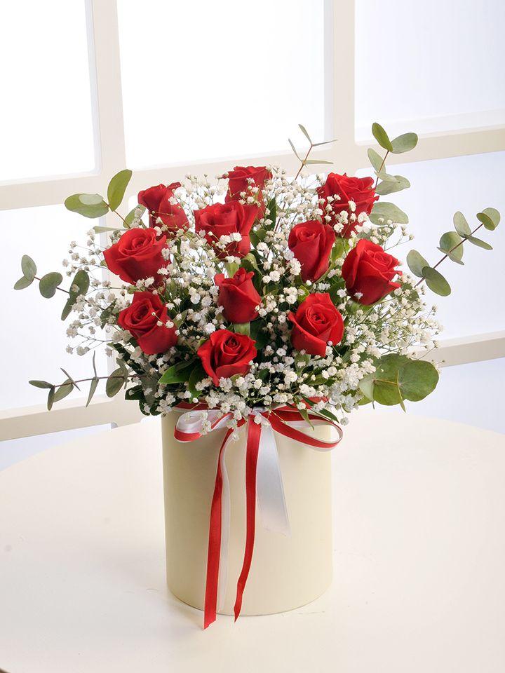 Krem Rengi Silindir Kutuda Kırmızı Güller. Kutuda Çiçek çiçek gönder