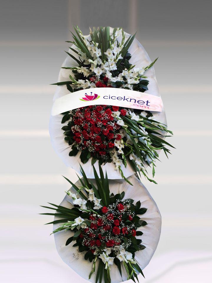Beyazlı Kırmızı Ayaklı Sepet.. Ayaklı Sepet çiçek gönder