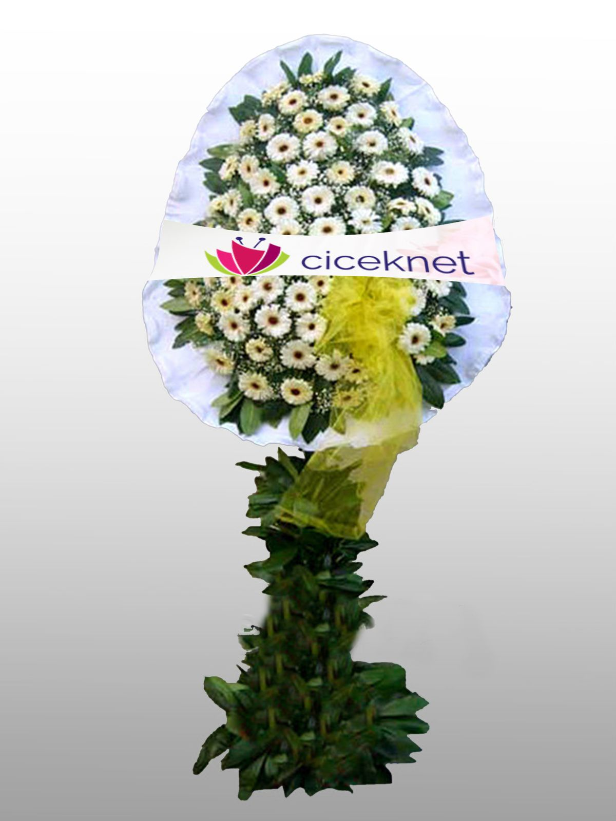 Beyaz Gerberalardan Gelin Duvağı.. Ayaklı Sepet çiçek gönder