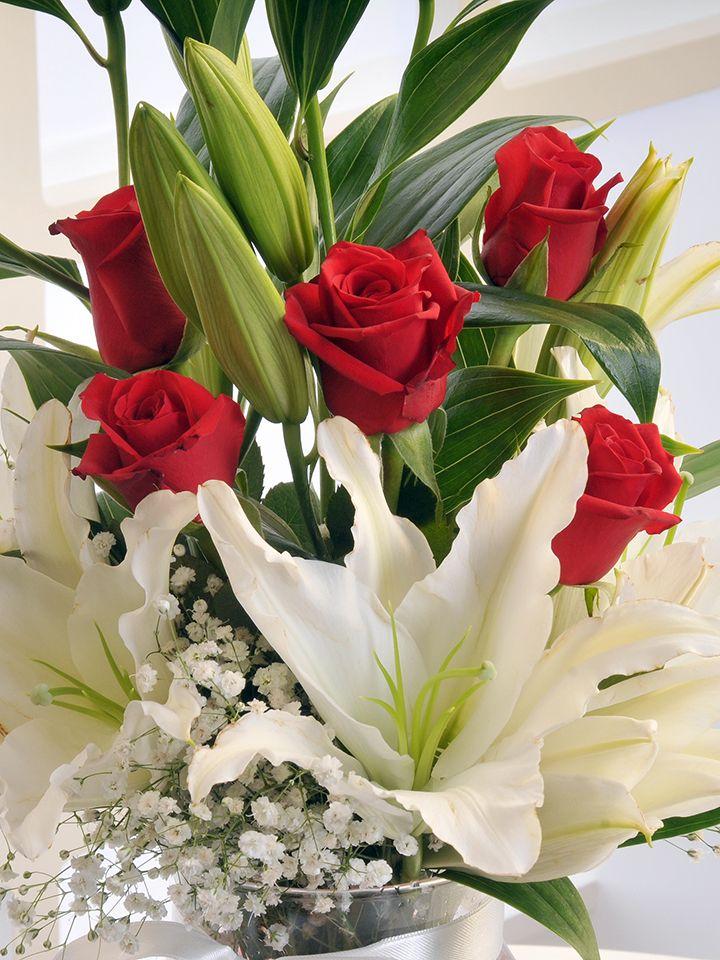Amfora Cam Vazoda Beyaz Lilyum ve Kırmızı Güller. Aranjmanlar çiçek gönder