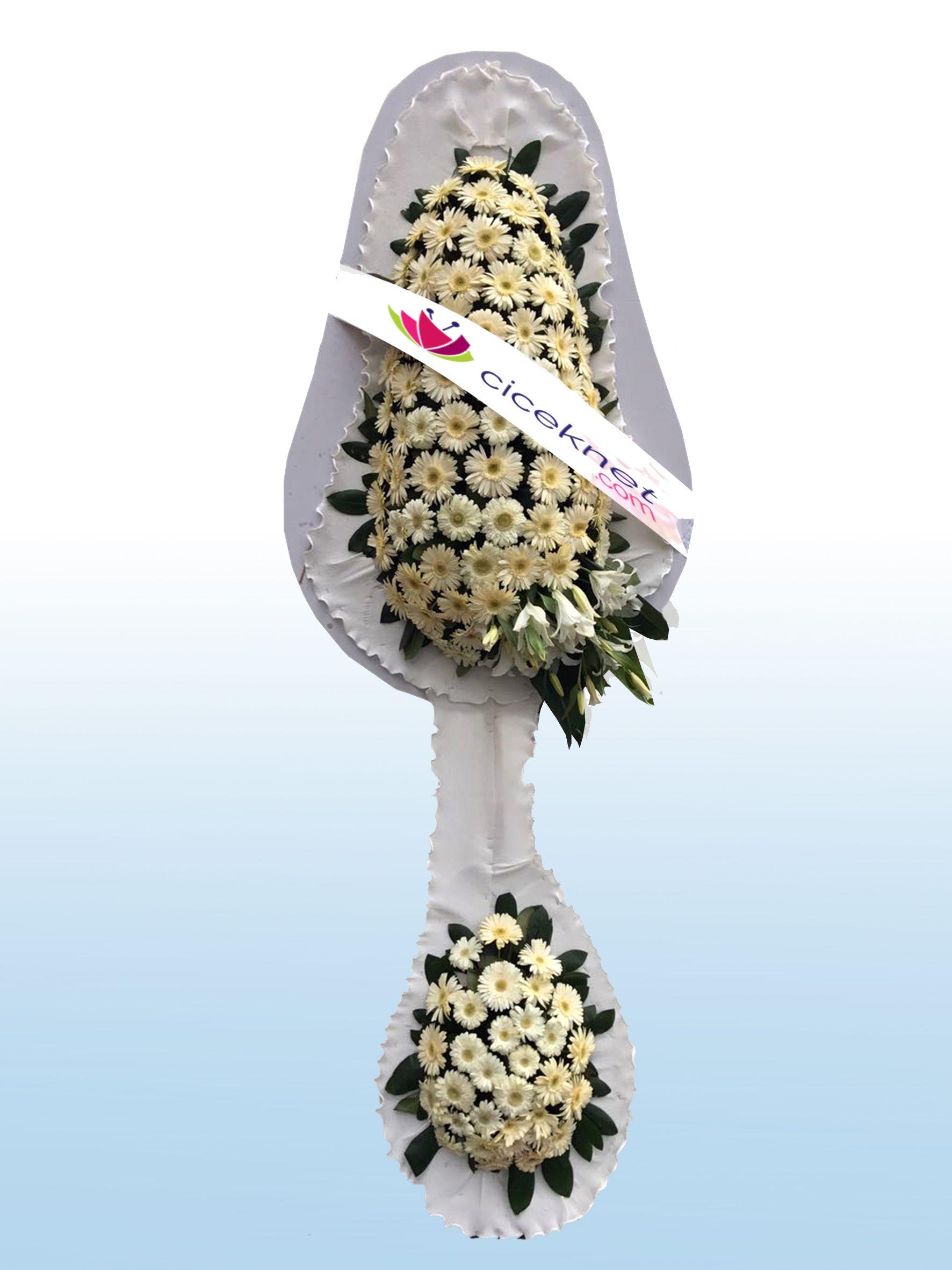 Beyaz Gerberalı Ayaklı Sepet.. Ayaklı Sepet çiçek gönder