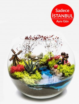 Aşk Değirmeni Yapay Teraryum Terarium çiçek gönder