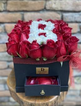 Çekmeceli Kutu Harf  çiçek gönder