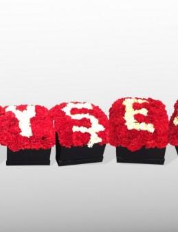 Kalbime Yazdım İsmini Kutuda Çiçeklerden İsim  çiçek gönder