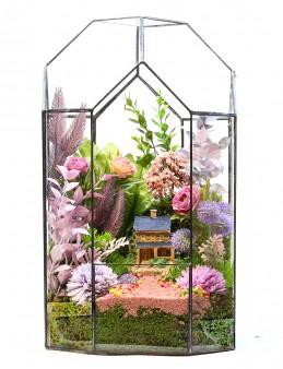 Özel Vitray Cam Vazoda Teraryum  çiçek gönder