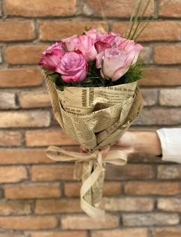 9 Adet İthal Gül Buketi   çiçek gönder