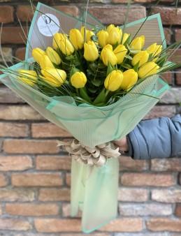 30 Dal Sarı Lale Buketi  çiçek gönder