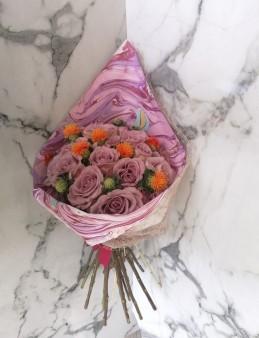 Ebru Sanatlı Lila Gül Buketi  çiçek gönder