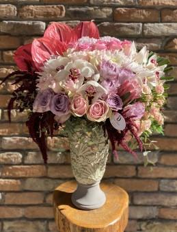 Seramikte İthal Çiçek Arajmanı  çiçek gönder