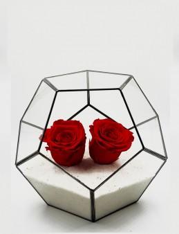 Geometrik Teraryum  İkili Solmayan Gül Solmayan Güller  çiçek gönder
