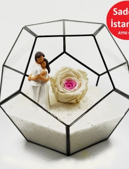 Geometrik Teraryum Beyaz Gül Canım Sevgilim   çiçek gönder