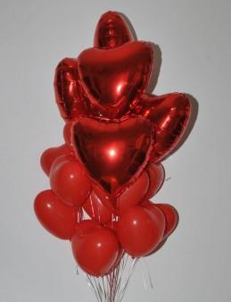 Kırmızının Sırrı Kalpli Uçan Balon Buketi  çiçek gönder