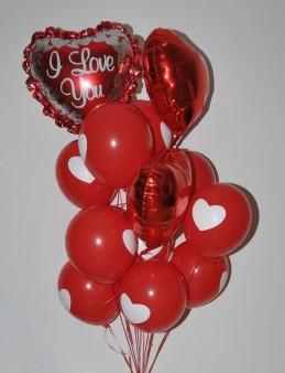 Kalp Desenli Balon Buketi 3  çiçek gönder