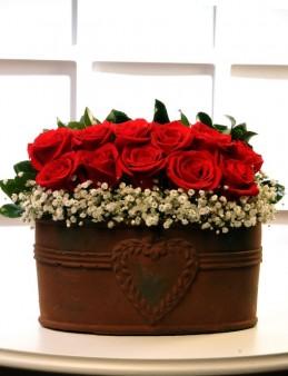 Bakır Kalpli Seramikte Kırmızı Güller  Aranjmanlar çiçek gönder